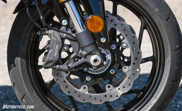 New four-piston calipers and 310mm petal rotors are really braking overkill on this bike. ABS is only available on the $8,899 GSX-S750 Z, which is all black. New, ten-spoke wheels look good too.
