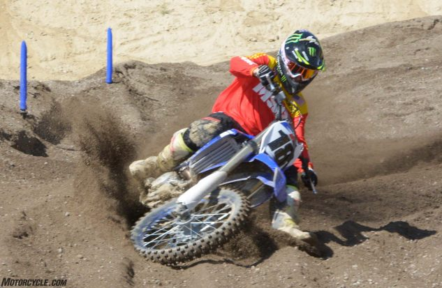 Despite its all-new chassis, test rider Nic Garvin noticed that the 2018 YZ450F handles a lot like the 2017. It will slam berms just fine, but has a tougher time with rutted corners.