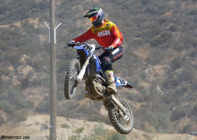The Yamaha's powerhouse engine makes it easy to take flight over just about any of Glen Helen's Raceway's numerous jumps.