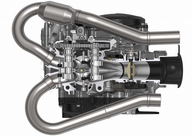 In addition to double overhead cams, the 2018 CRF250R engine boasts larger titanium intake and exhaust valves, dual exhaust ports, and a much larger bore and shorter stroke than the 2017 CRF250R.