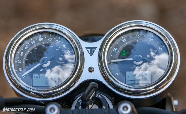 The numerals are a little small, but all the info is there. Also Rain and Road modes, TC and ABS.