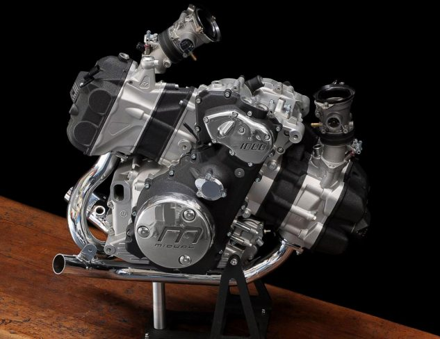 A Boxer engine with pistons in line with wheels is a unique item in the moto world.