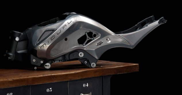 The aluminum monocoque frame is a complex yet beautiful component.
