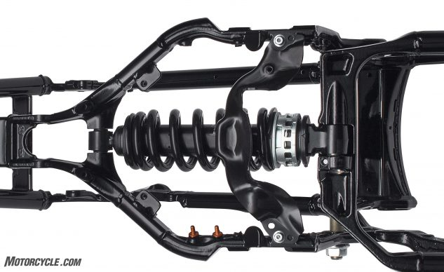 When viewed from above, the new Showa shock is located below the seat instead of under the engine as with the previous generation Softail.
