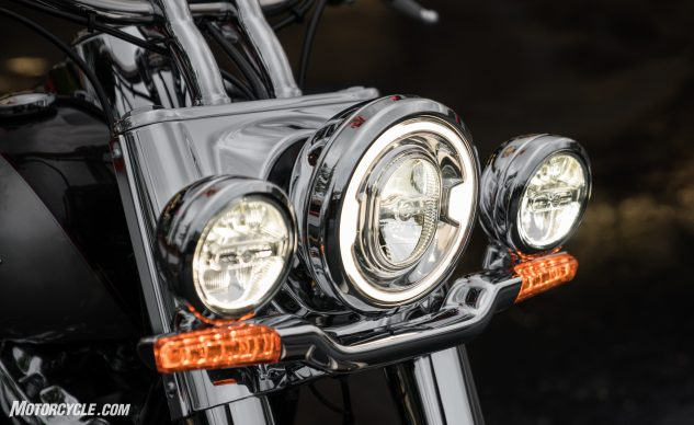 As with the rest of the Softail line, the Deluxe received a signature LED headlight. Unlike the others, the Deluxe also sports LED fog lamps, turn signals and brake light.