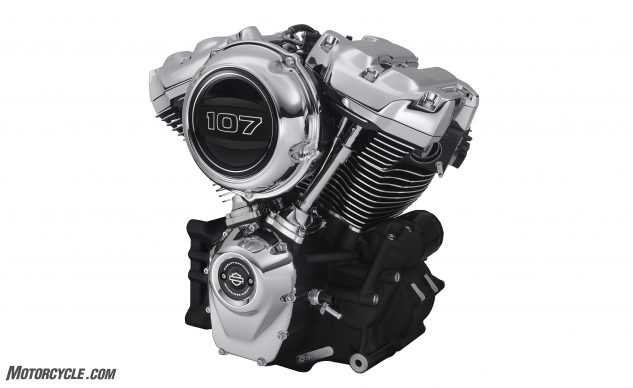 The Twin Cam 103 was replaced by the Milwaukee-Eight 107 with its new dual counterbalancers. An optional 114 cu. in. version is available in select Softail models. Which Harley claim produce 109 lb-ft and 119 lb-ft of torque, respectively.