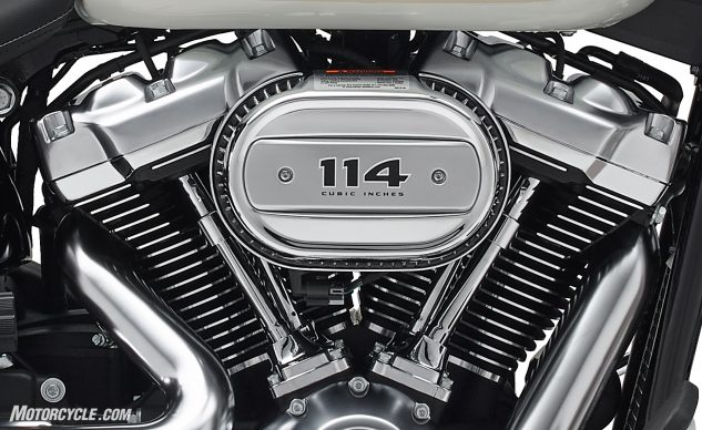 Available in the Breakout, the Fat Bob, the Fat Boy, and the Heritage Classic, the Milwaukee-Eight 114 announces its presence with the oval Ventilator Intake.