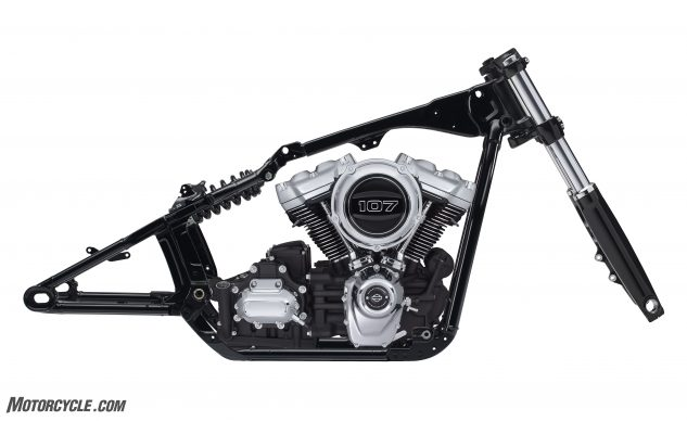 Behold the new Softail chassis and its rigid-mounted Milwaukee-Eight engine! Owners of Dynas and lesser Softails should quake with fear. (Note: The upper engine mount is not shown in this photo.)