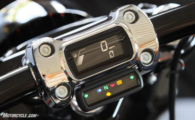 The new handlebar clamp LCD instrumentation is standard on several of the Softail models.