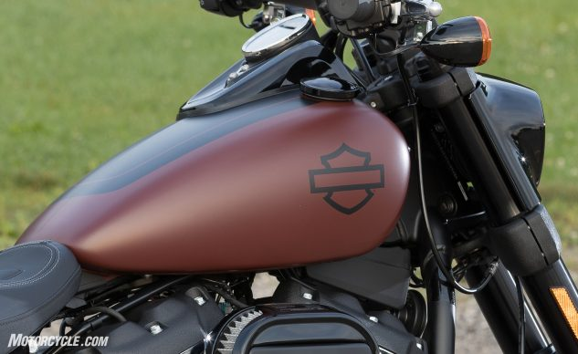 All of the Softail gas tanks were redesigned for reduced weight. The new 3.5 gallon tank (shown here) was angled in a V-shape to give a better view of the engine heads.