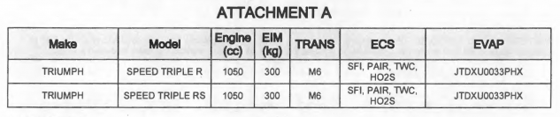 2018 Triumph Speed Triple RS carb filing