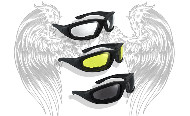 HiSurprisemotorcycle riding glasses in clear, yellow and smoke