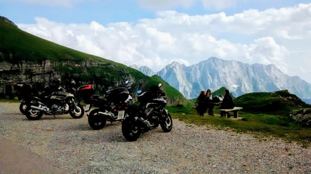 No, it's not the Alps: Moto Tours Croatia guests enjoying Croatia's scenic beauty.