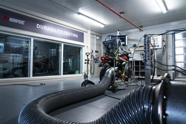 Akrapovič's high-tech robotic durability dyno is an example of how the company leads the industry.