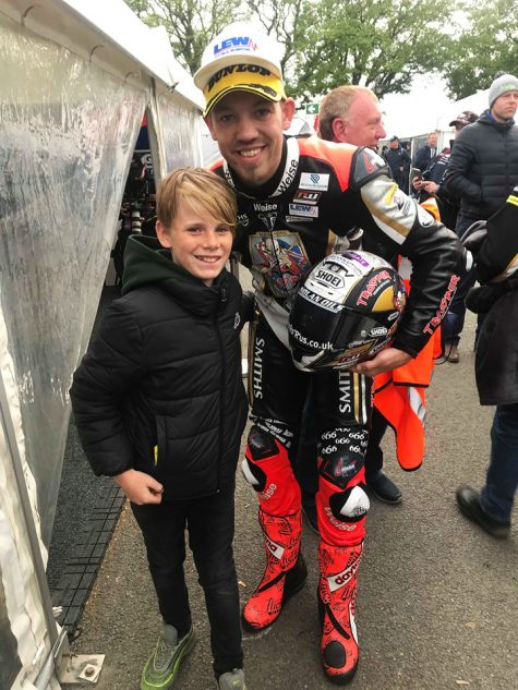Fan Jacob Lowe meets Isle of Man TT race winner Peter Hickman