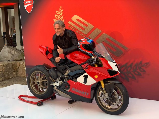 Ducati broke out four-time WSBK champ Foggy to unveil the Panigale V4 25° Anniversario 916, which he nearly crashed in the wet grass en route to the stage.
