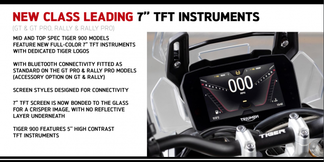 2020 Triumph Tiger 900 TFT display