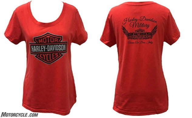 HARLEY-DAVIDSON Military – Women's Red Scoop Neck Bar and Shield Tee – Aviano Air Base