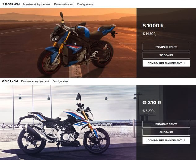 """""""S 1000 R - Old"""" and """"G 310 R - Old"""""""