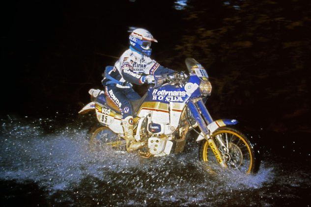 Cyril Neveu, 1986 Paris-Dakar Rally on a Honda NXR750.