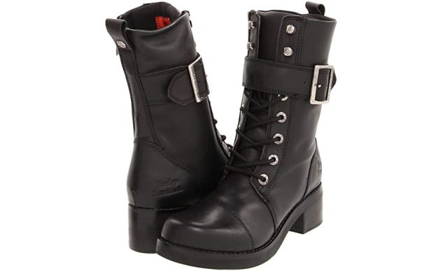 Harley-Davidson Women's Jammie Strap And Buckle 10 Black Mid Cut Boot