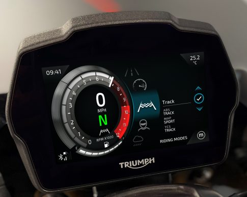 Speed Triple 1200 RS Instruments – Cobalt theme – Riding Modes