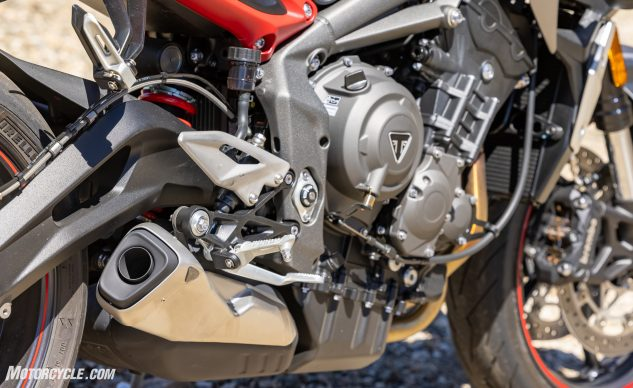 Triumph Street Triple R engine and exhaust