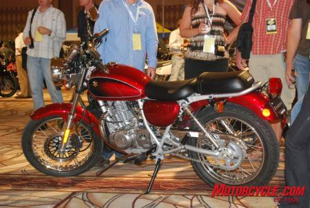 The 2009 TU250X was a surprise to many people attending the dealer show. This new budget bike from Suzuki often drew a bigger crowd than many of the more popular bikes in Suzuki's line.