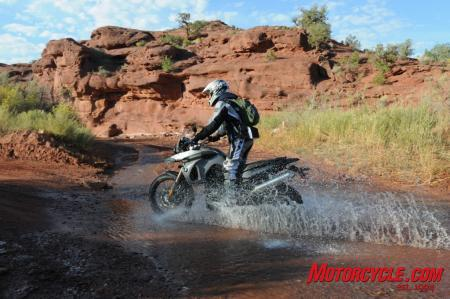 Ready to tackle muddy waters, the new F800GS utilizes high-mount airbox intakes.