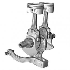 The balancing connecting rod used in the F800 engine keeps the engine compact, lowers CoG, and allows for use of a semi-dry oil sump. But most importantly, does a very good job of minimizing vibration.