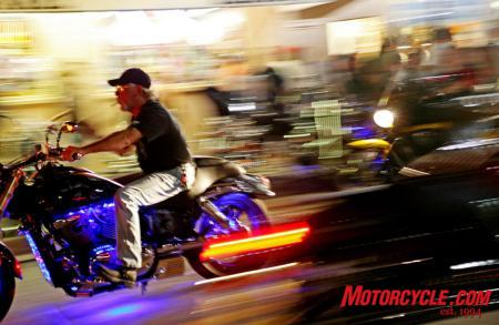This biker finds a rare break in traffic on Main Street.