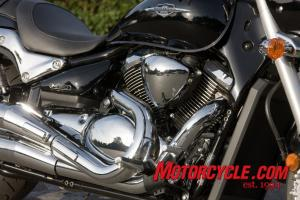 The M90�s power source is a 90ci (1462cc) liquid-cooled, fuel-injected, 8-valve, 54-degree V-Twin. Though the same displacement as the Boulevard C90, this engine is designed with a nod to the big M109R.