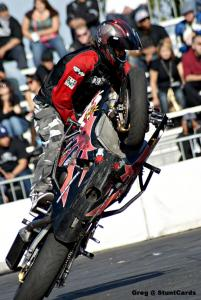 Shin Kinoshita from Japan setting the world record for circle wheelies on a sport bike.