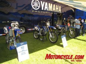 Yamaha's formidable motocross lineup. Bike #8 is Grant Langston's championship-winning YZ450F.