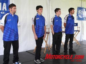 Yamaha's American roadracing team, from left to right: Josh Hayes, Tommy Aquino, Josh Herrin and Ben Bostrom.