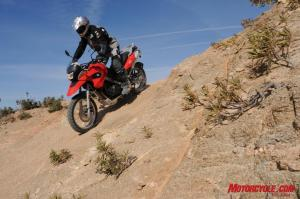 The 2009 G650GS isn�t marketed as a rugged enduro machine, but you can see in this photo, the G is, after all, a GS model.