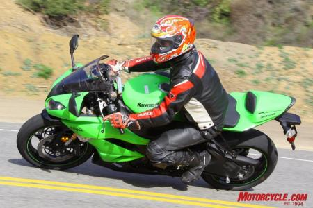 Showa's Big Piston Fork gives the new-for-2009 ZX-6R excellent comfort and control