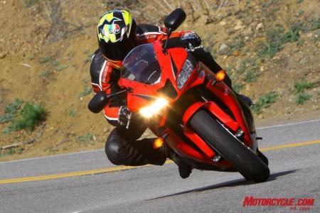 With the most aggressive steering geometry tempered by the best in-class steering damper, the '09 CBR600RR retains it position at the top of the handling heap by way of light and very responsive steering, as well as being remarkably stable.