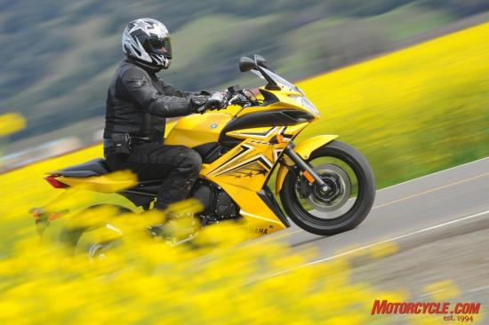 Emerging as an all-new model for Yamaha, the FZ6R bursts onto the scene in four vivid colors and graphics packages. Here you see the yellow stunter edition. Rumor has it the yellow bikes have more horsepower.