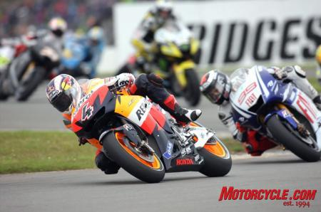 Andrea Dovizioso was a surprise winner in the final MotoGP race at Donington Park.