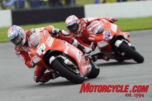 Ducati Marlboro's decision to start on wet tires backfired as Casey Stoner and Nicky Hayden finished at the back of the pack.