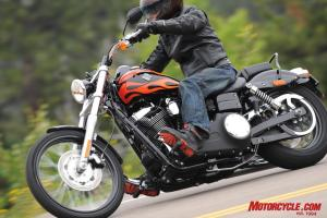 The Wide Glide's exhaust system limits cornering clearance on the right side.