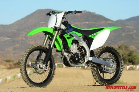 The new KX450F under the hot SoCal sun.
