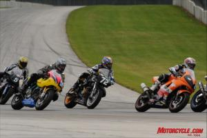 The Moto-GT class shad a wide range of machinery, seeing Suzuki SV650s competing against bigger air-cooled motors in Buells and Ducatis. The endurance-racing class will no longer exist in the 2010 season. Damn!