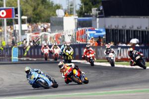 Andrea Dovizioso and Loris Capirossi battled for fourth with the youngster beating the veteran.