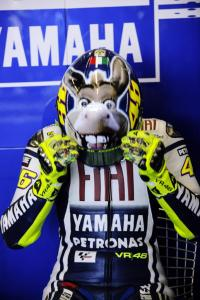 Valentino Rossi wore a special helmet with Donkey from the film Shrek.