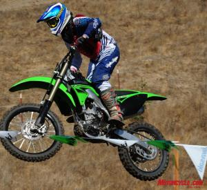 The KX250F, thoroughly at home on a race track.