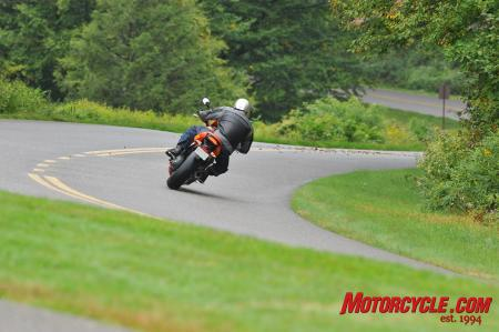 An angel riding pillion? Nope, just the Angel ST tire providing lots of lean angle, even in damp conditions along the Blue Ridge Parkway.