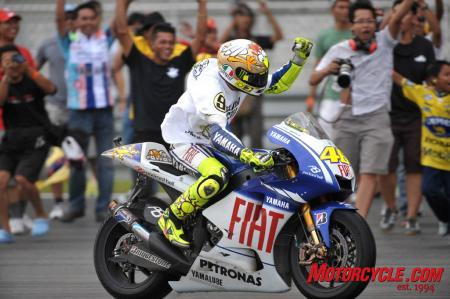 With his third-place finish, Valentino Rossi captured his ninth World Championship. And yes, that is a chicken on his helmet.
