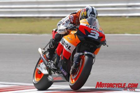 With Casey Stoner out of the race before it even started, Dani Pedrosa had an easy win in front of a friendly Spanish crowd.